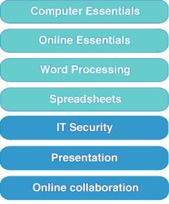 Moduli ecdl full standard: computer essentials, online essentials,word processing, spreadsheets, it security, presentation, online collaboration